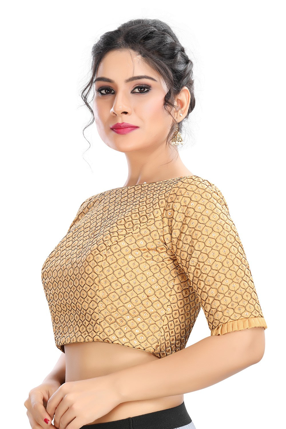 Gold Vamas Embroidery Back Open Ready Made Blouse