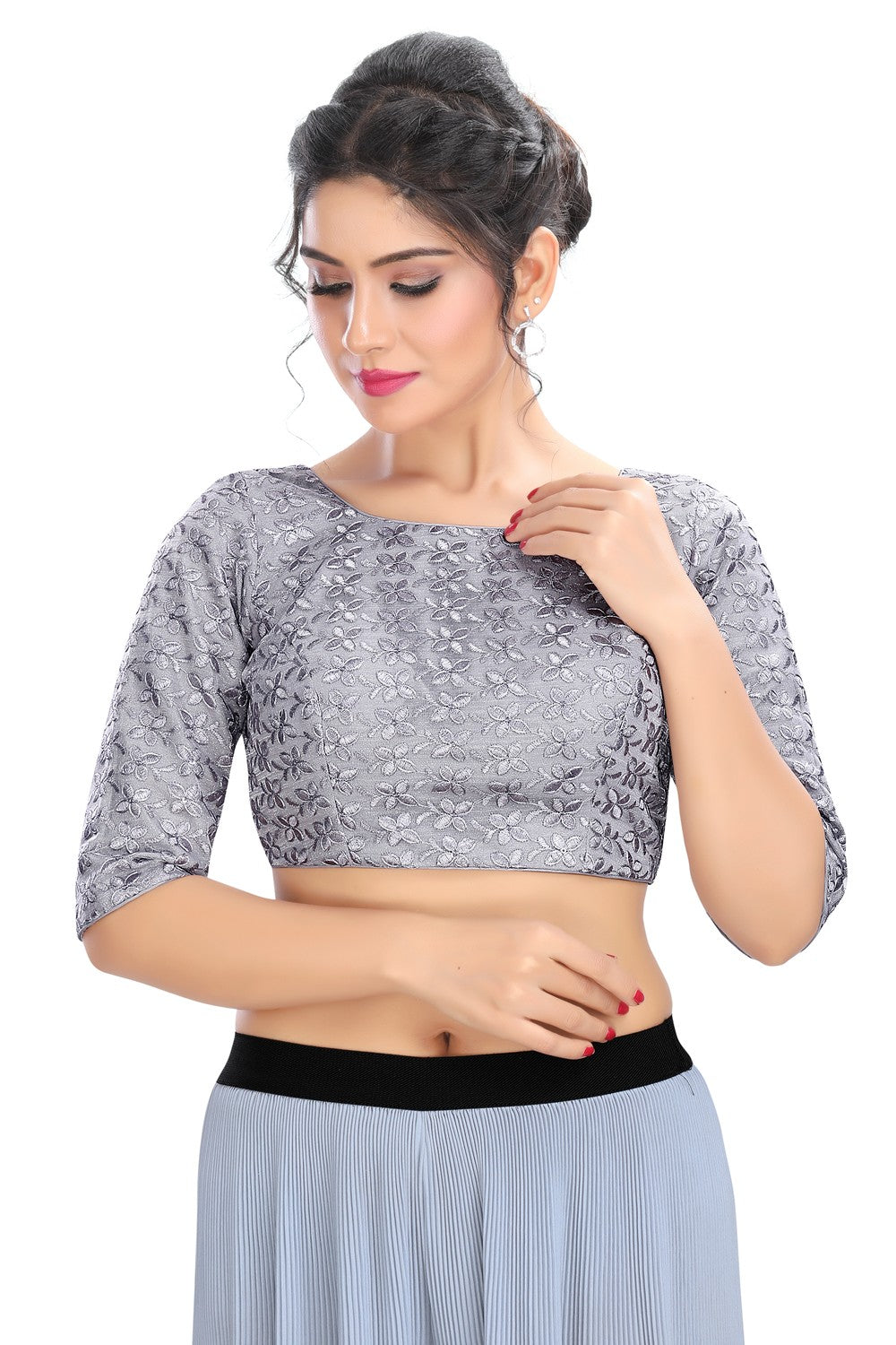 Grey Vamas Fancy Net Back Open Ready Made Blouse