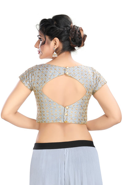 Grey Vamas Dupion silk Back Open Ready Made Blouse