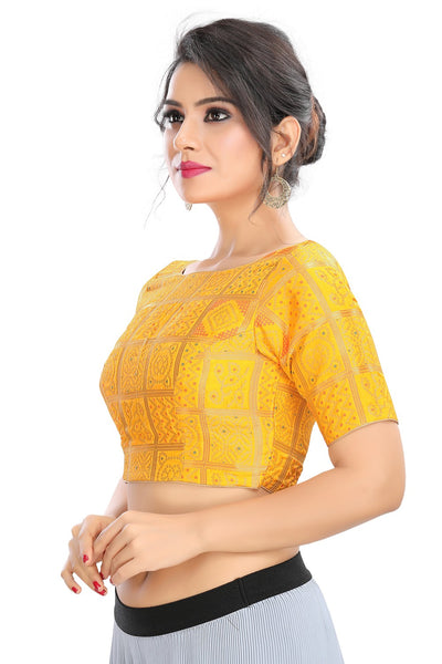 Yellow Vamas Brocode Back Open Ready Made Blouse