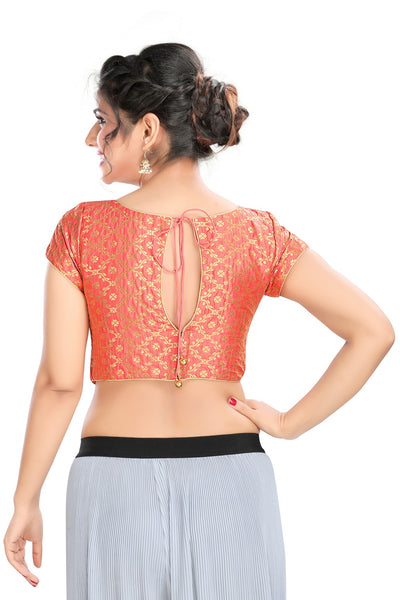 Peach Vamas Brocode Back Open Ready Made Blouse