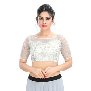 Self Work Net Padded Designer Saree Blouse in Silver Color