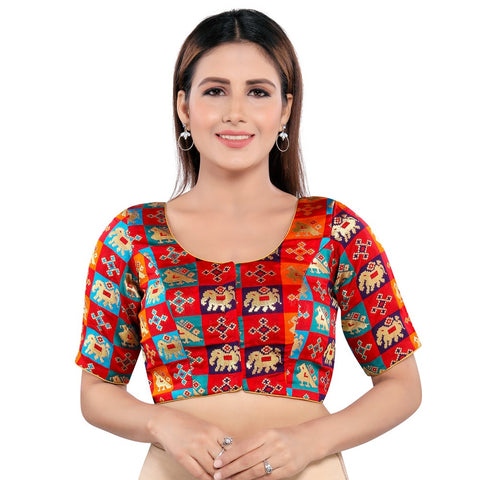 Multicolor over Red Base Vamas Women's Brocade Padded Front Open Half Sleeves Blouse