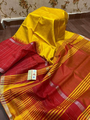 Mustard Yellow and Red Handloom Bhagalpur Tussar Raw Silk Saree