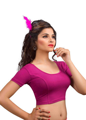 Magenta Cotton Lycra Stretchable Blouse