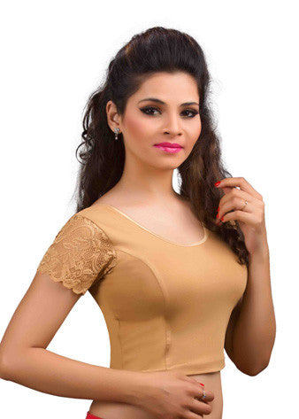 Dark-Gold Cotton Lycra Stretchable Blouse