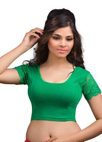 Green Cotton Lycra Stretchable Blouse