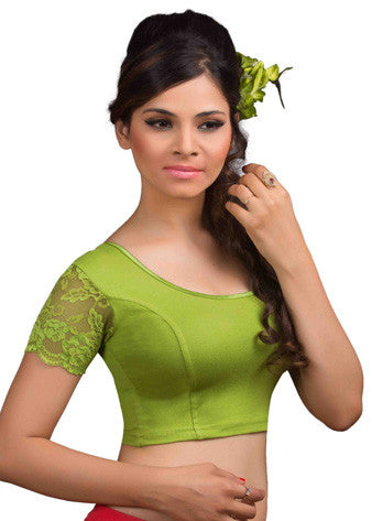 Mehendi-Green Cotton Lycra Stretchable Blouse