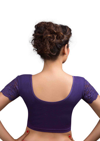 Purple Cotton Lycra Stretchable Blouse