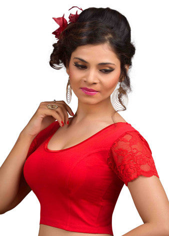 Red Cotton Lycra Stretchable Blouse