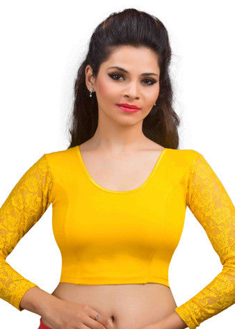 Dark-Yellow Cotton Lycra Stretchable Blouse