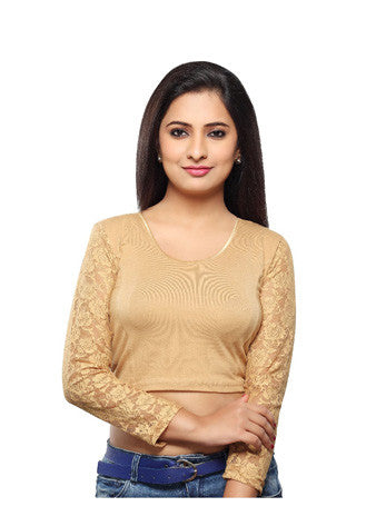 Gold Cotton Lycra Stretchable Blouse