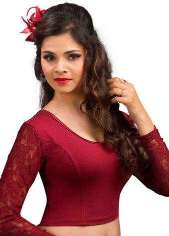 Maroon Cotton Lycra Stretchable Blouse