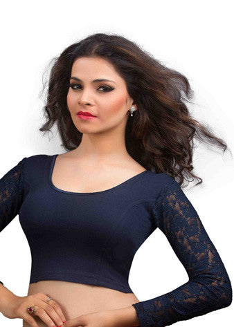 Navy-Blue Cotton Lycra Stretchable Blouse