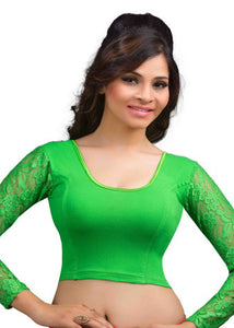 Parrot-Green Cotton Lycra Stretchable Blouse