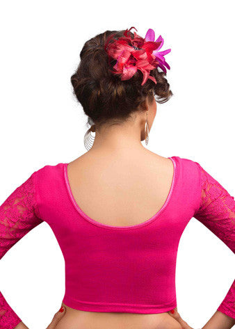 Pink Cotton Lycra Stretchable Blouse