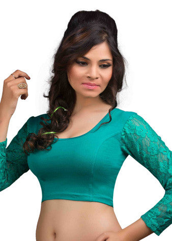 Rama-Green Cotton Lycra Stretchable Blouse
