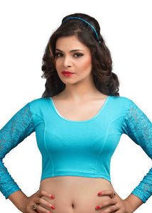 Sky-Blue Cotton Lycra Stretchable Blouse