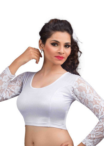 Vamas Silver Shimmer Stretchable Blouse