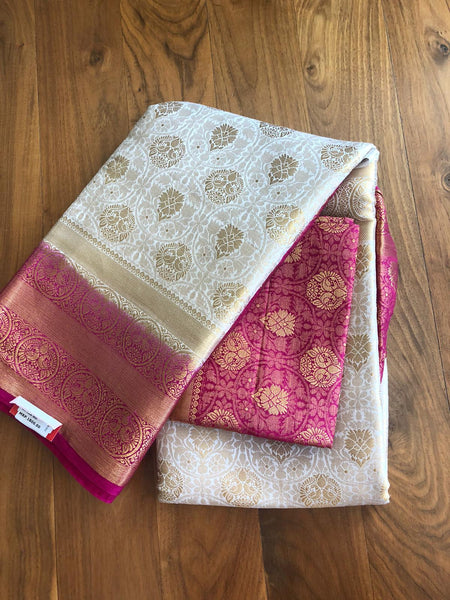 Pink and Gold/OffWhite Banarasi Brocade Blended Silk Saree