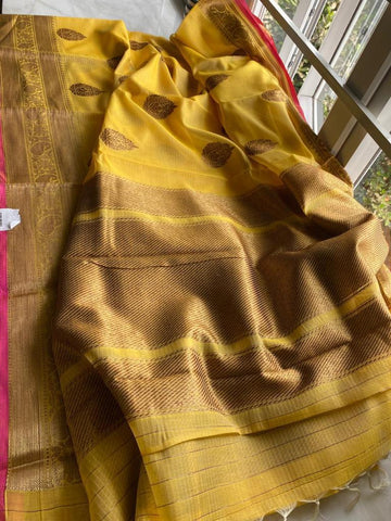 Yellow and Gold Pure Handloom Cotton Silk Saree