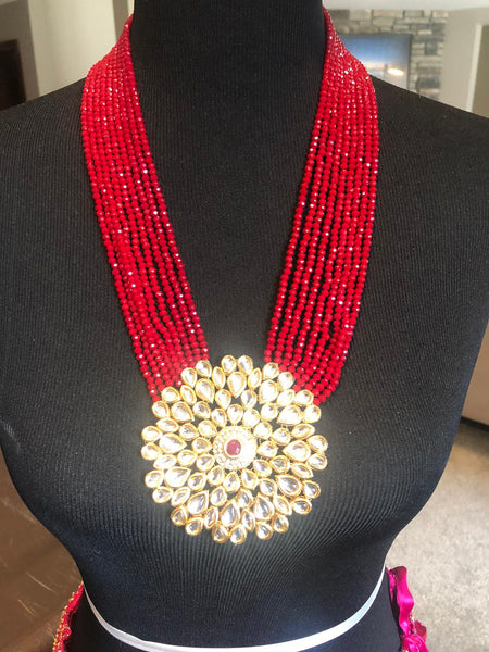 Maroon Red Garnet Kundan Necklace and Earring Set