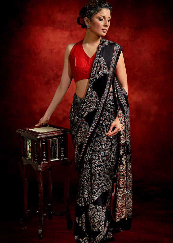 AJRAKH BLOCK PRINTED BLACK MODAL SILK SAREE