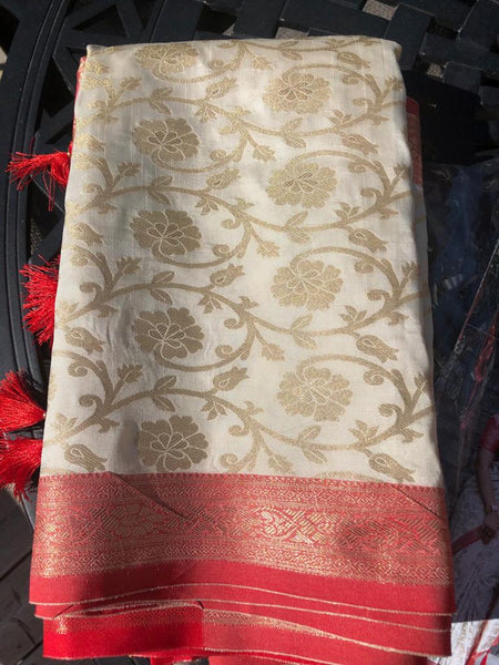 Soft Handloom Blended Silk Saree in Red and White with Golden Floral Print