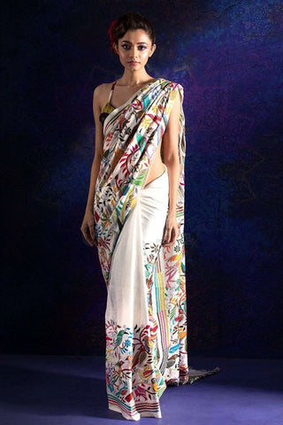 Tussar Custom Made Kantha Stitched Saree on Pure Ghicha Tussar Silk