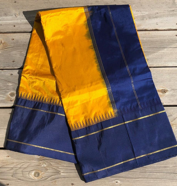 Yellow and Navy Blue Pure Silk Saree with Temple Border