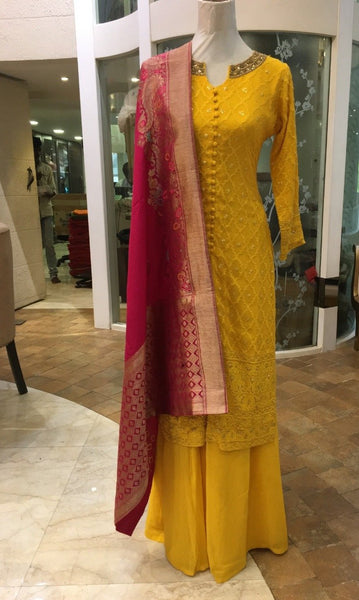 Yellow Chiffon Embroidered Sharara Set with Red Banarasi Dupatta