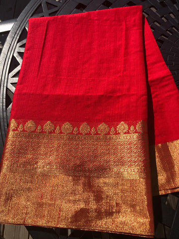 Red Handloom Soft Silk Saree