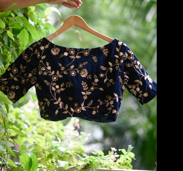 Deep Blue Embroidered velvet readymade blouse
