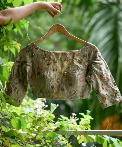Olive Green Embroidered silk and polyester readymade blouse
