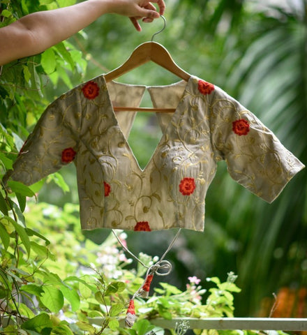 Gold Embroidered raw silk and polyester readymade blouse