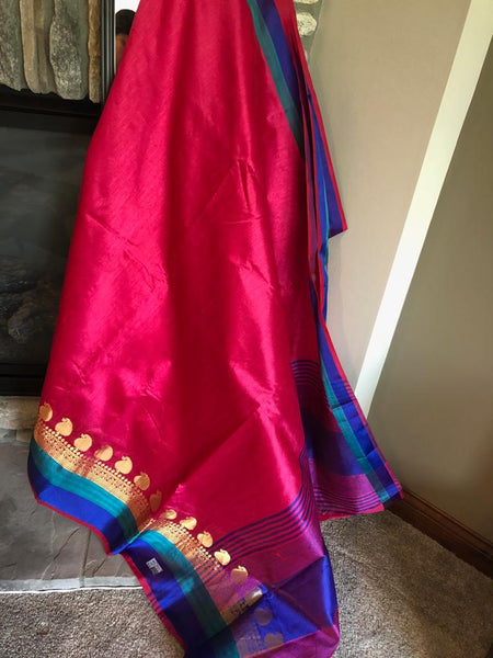 Rani Pink With Dual Color Border Kota Silk Handloom Sarees