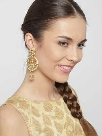 3 Inches Gold Colored Kundan Earrings with Pearls