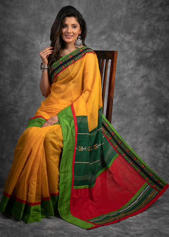 YELLOW KOTA SAREE WITH KHESH HANDLOOM PALLU AND KANTHA BORDER