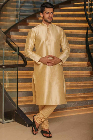 Manyavar Designer Stylish Classic Beige Colored Cotton Silk Kurta Pajama Set