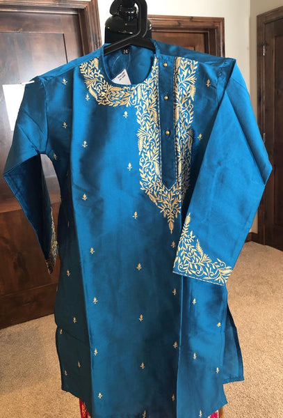 Blue Boys Pure Soft Dupion Silk Long Button Down Kurta's Pajama Set