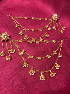 Antique Gold Kundan Earring With Three Layered Long Chain