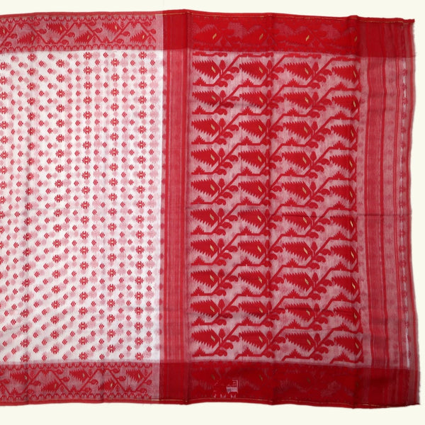 Red & White Dhakai Jamdani Saree