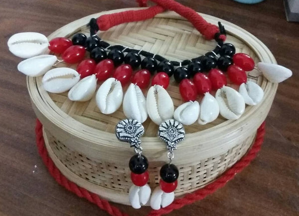 Cowry Shells Beaded Necklace With Matching Earrings
