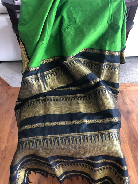 Handloom Silk Cotton Grass Green and Black and Gold Saree with Orange Border