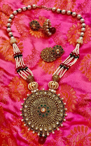 Gold Plated Pearl Necklace With Red Beaded Jhumka Earring