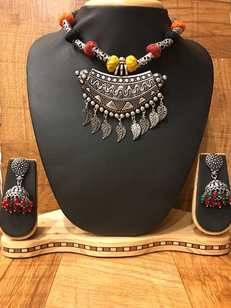 Multi Colored Threaded German Silver Tribal Necklace Set