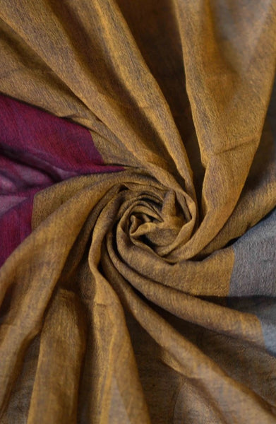 Grey, Mustard & Maroon Mul Cotton Saree