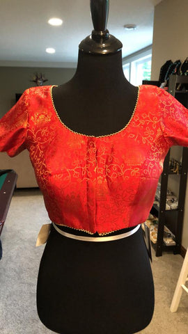 Red Brocade Front Open Short Sleeves Ready Made Blouse