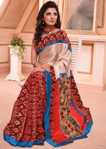 EXCLUSIVE PATOLA DESIGN IKAT WITH HAND PAINTED KALAMKARI PALLU & PURE TUSSAR SILK COMBINATION SAREE