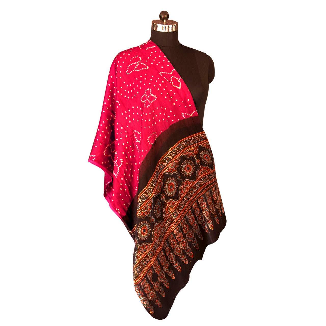 HandPrinted Magenta and Black Bandhej and Ajrakh Dupatta